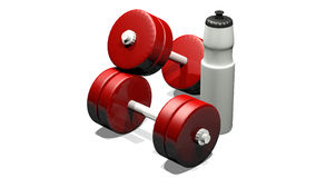 Dumbbells and water bottle Royalty Free Stock Photos