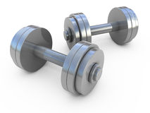 Dumbbells weight. Chromed fitness exercise equipment dumbbells weight isolated on white Royalty Free Stock Images