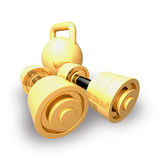 Dumbbells and weight. Matched gold dumbbell and weight are shown in the image Stock Photo