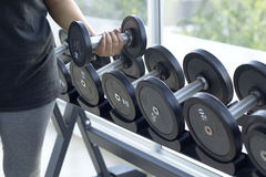 Dumbbells for weight lifting to exercise Stock Image