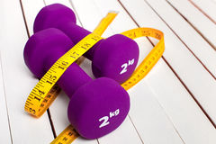 Dumbbells weight  violet color. Royalty Free Stock Images