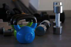 Dumbbells and weights in the gym.  Royalty Free Stock Photo
