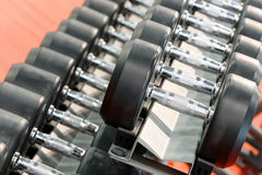 Dumbbells weights lined up in a fitness studio Stock Images