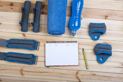 Dumbbells, Weights, Towel, Drink, Notebook. Stock Photography
