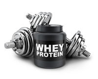 Dumbbells and whey protein Royalty Free Stock Photography