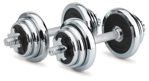 Dumbbells on white background Royalty Free Stock Photo