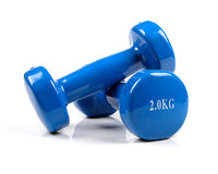 Dumbbells on white stock images