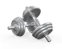 Dumbbells  on White Stock Photos