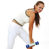 Dumbbells in woman hands Royalty Free Stock Photos