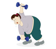 Dumbbells Workout. Illustration of an overweight woman doing workout using dumbbells Stock Image