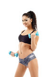 Dumbbells workout, young woman Stock Image
