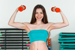 With dumbbells Stock Photo