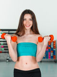 With dumbbells Stock Image