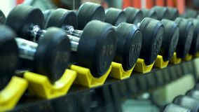 Dumbbels in a row. Row with dumbbels in a gym close - up stock video