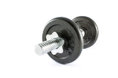 Dumbbell. Black dumbell Isolate on white background royalty free stock images