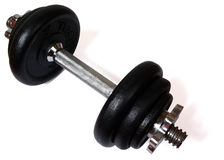 Dumbell (with clipping path). Black and silver dumbell, isolated on white background, with clipping path royalty free stock photos