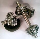 Dumbell with discs Royalty Free Stock Photography