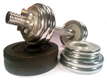 Dumbell with discs Stock Photography