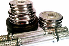 Dumbell with discs Stock Photos