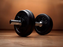 Dumbell on the floor Stock Image