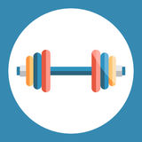 Dumbell icon. Color dumbell on a blue background. Sports Equipment. Vector Illustration. Royalty Free Stock Image