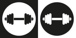 Dumbell icon. Silhouette dumbell on a black and white background.  Stock Photo