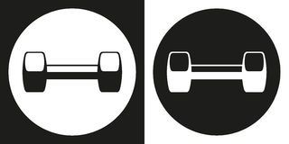 Dumbell icon. Silhouette dumbell on a black and white background. Sports Equipment. Vector Illustration. Stock Images