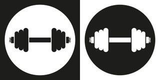 Dumbell-Ikone Schattenbild dumbell auf einem Schwarzweiss-Hintergrund Stockfoto