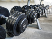 Dumbell set left on the racks. stock image
