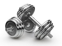 Dumbell weights. Isolated on white Stock Images