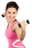 Dumbells de levage de femme Photo libre de droits