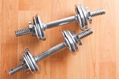 Dumbells del cromo Foto de archivo libre de regalías