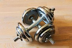 Dumbells di Chrome Immagine Stock