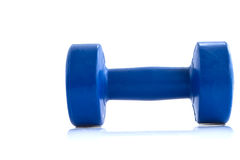 Dumbells enduits de plastique bleu Photo stock