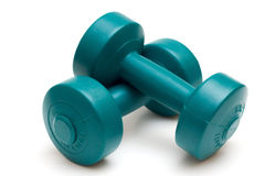 dumbells isolerade white Royaltyfri Foto
