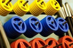 Dumbells pour la forme physique dans un support au gymnase, ont un exercice Image libre de droits