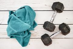 Dumbells. A studio photo of gym dumbells Royalty Free Stock Photography