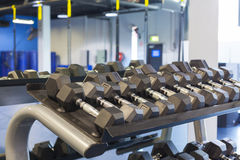 Dumbells in studio Stock Images