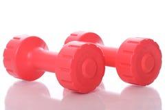 Dumbells vermelhos sobre o fundo branco Imagens de Stock Royalty Free