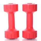 Dumbells vermelhos sobre o fundo branco Imagens de Stock