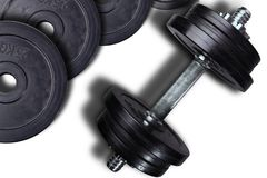 Dumbells and weights on a white background stock image