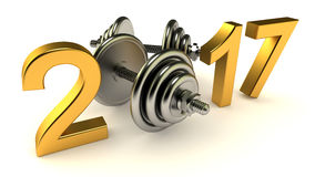 Dumbells and 2017 year. On a White Background, 3d-illustration Royalty Free Stock Images