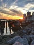 Заход солнца на Dumbo Brooklyn Park стоковое фото