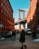 Dumbo. Cross in Brooklyn stock images