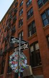 Dumbo Building Architecture. A picture of a street sign and building facade in the Dumbo area Brooklyn stock images
