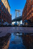 DUMBO point New York Brooklyn USA. Down Under the Manhattan Bridge Overpass - DUMBO Point from brooklyn New york city NY USA royalty free stock images