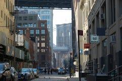 DUMBO -- uma vizinhança na moda em New York City foto de stock