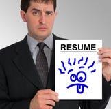dumbom för sida för resume för affärsmanframsidapresentation Arkivfoto