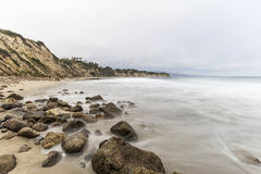 Dume Cove Beach Malibu. Dume Cove beach with motion blur water in Malibu, California Royalty Free Stock Photography