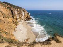 Dume Cove Malibu, Zuma Beach, emerald and blue water in a quite paradise beach surrounded by cliffs. Dume Cove, Malibu, California Stock Photo